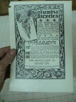 1800's COLUMBIA BICYCLES w Santa on bike Pope mfg  - LETTERPRESS orig