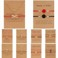2Pcs Women Bracelet Pendant Necklace Wish Card Clavicle Friendship Jewellery New