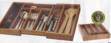 Besteckkasten aus Bambus Holz - Besteckeinsatz Schubladeneinsatz Ausziehbar -NEU