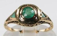 DAINTY 9K 9CT GOLD COLOMBIAN EMERALD ART DECO INS FILIGREE RING FREE RESIZE
