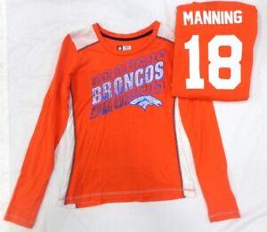 Denver Broncos Football Peyton Manning Ladies Fitted Long Sleeve Shirt Orange