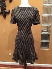 Vintage Arnold Scaasi Black Silk Square Design Cocktail Dress 10 Formal