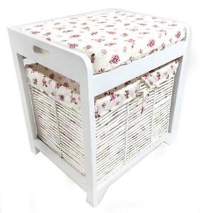 White Hallway Livingroom Bench Dressing Table Stool Padded Seat + Storage Basket