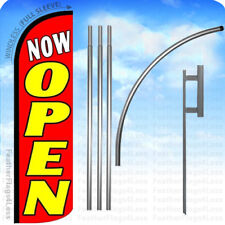 Now Open - Windless Swooper Feather Flag Kit 15' Banner Sign - rq108