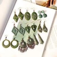 Vintage Bronze Bohemian Geometry Retro Hook Dangle Women Ethnic Gypsy Earrings