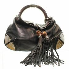 "GUCCI Medium Indy Black Leather Shoulder Bag, 11"" X "" X 15.5"""