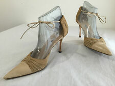 Manolo Blahnik Strappy D'Orsay Pumps Heels Beige Leather & Suede Size 41