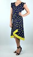 Phase Eight Stunning Navy & Yellow Aurelia Spot Occasion Wedding Party Dress