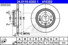 2x Bremsscheibe für Bremsanlage Hinterachse ATE 24.0110-0302.1