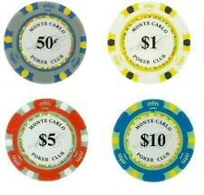 CASH GAME Monte Carlo Smooth Poker Chips Bulk - Perfect for .50/$1 Blinds NEW