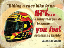 Valentino Rossi Helmet, Motorbike Racing Quote, Race Bike, Small Metal Tin Sign
