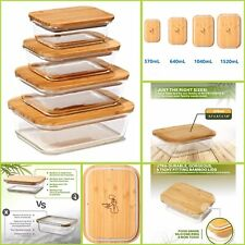 4-PACK Greener Chef Glass Food Storage Containers with Bamboo Lids *High Quality