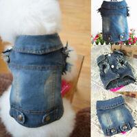 Dog Puppy Cowboy Jean Denim Vest Coat Jacket Clothes Outfits Pet Supplies USA