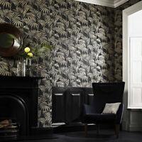 Designer Julien Macdonald Honolulu Glitter Palm Print Black Gold Wallpaper (Was