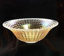 """Vintage 1910 Imperial Carnival Glass Bowl 11.5"""" """"Waffle Block"""" in RARE Clambroth"""