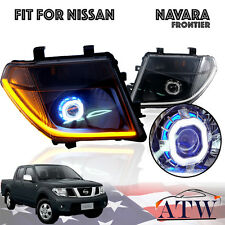 For Nissan Navara Frontier D40 05-08 Smoke Black Head Lamp Led Drl Hid Projector