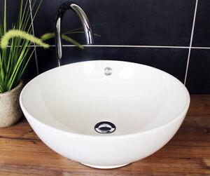 Aufsatzwaschbecken Design Waschbecken Waschschale Schüssel Modern Weiß Rund