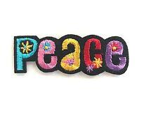 Écusson patch thermocollant PEACE AND LOVE multicouleur fleur CUSTOM