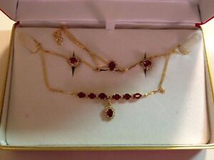 AMAZING 18kt yellow gold (Thailand)RUBY and Diamond Necklace, Ring & Earring Set