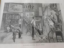 Gravure 1886 - Atelier du Peintre Edouard Detaille