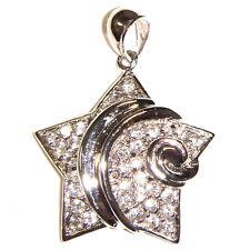 Sólido 925 Plata Esterlina Rodio Plateado Cadena Collar Estrella Con Zirconia