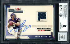 Drew Brees Autographed 2001 Fleer Jersey RC Auto 10 Card 8 Beckett 11077948