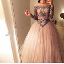 Long Sleeve Prom Dresses Puffy Ball Gown Off Shoulder Special Occasion Dresses