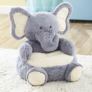 Plush Stuffed Animal Chair for Children - Playroom Furniture - Gray Elephant