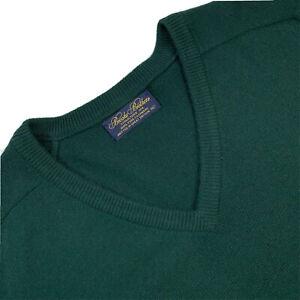 VTG XL / 46 Brooks Brothers 100 % Cashmere Hunter Green  V Neck  Made England