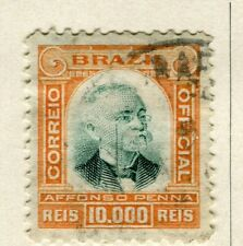 BRAZIL; 1906 early Penna Official issue fine used 10.000r. value