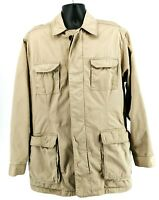 National Geographic Men's Travel Field Jacket Safari Blazer Khaki Pockets Size M