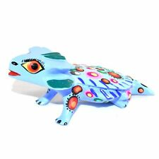 Handmade Oaxacan Copal Wood Carving Painted Blue Horny Horned Toad Frog Figurine