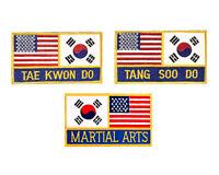 Flag USA KOREA Embroidered Patch Martial Arts, Tae Kwon Do, Tang Soo Do Sew-on