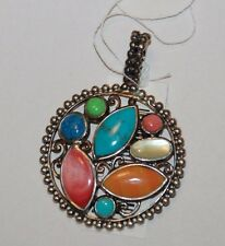Thailand Made Mixed Stone Sterling Silver Pendant