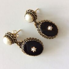 "Vintage 14K Gold ONYX Mabe & Seed Pearl 1 3/8"" Dangle Pierced Earrings 11.5gr"