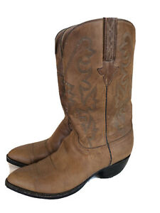 Lucchese Men 10 D Brown Tan Leather Cowboy Boots Made In USA L000324