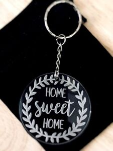 ACRYLIC KEYRING GIFT BIRTHDAY HOUSE FIRST HOME SWEET HOME XMAS