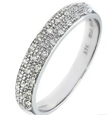 9ct White Gold Ladies 100% natural Diamond half etenity Ring size S free post