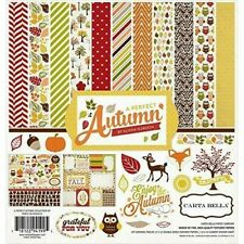 Autumn Fall Leaves Grateful Thanksgiving Echo Park Scrapbook Page Kit 12 x 12