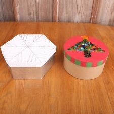 2 Home Decorated Gift Boxes Snowflake Octagon & Christmas Tree Round
