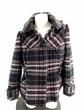VIA WOMENS PINK & GRAY PLAID WOOL BLEND JACKET COAT SIZE M SUPER CUTE