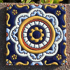 """8~MEXICAN TALAVERA POTTERY 6"""" tile Hand Painted Hi Relief hand made  Gold Cream"""