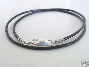 Mens Slim 2mm Leather Cord and Sterling Silver Necklace, Black or Dark Brown