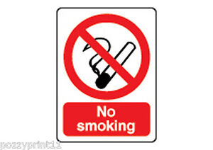 NO SMOKING SIGN corflute 25 x 30cm workplace health and safety food business