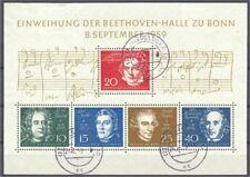 GERMANY, REP. FED., BEETHOVEN/COMPOSERS, USED SOUVENIR SHEET