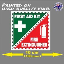 FIRST AID - FIRE EXTINGUISHER SAFETY STICKER 100mm decal