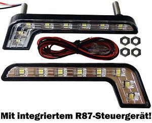 2x SILVER EDITION LED Tagfahrlicht 8SMD mit Steuergerät E4 L-Form 6000K weiß