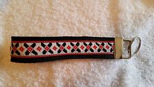 Handcrafted Red and Black Flowers on White Key Chain Wristlet Free Shipping