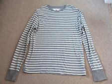 Mens Fat Face l/s grey stripe t shirt size S casual walking layers