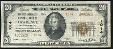 1929 $20 BAY STATE MERCHANTS NB OF LAWRENCE, MA NATIONAL CURRENCY CH. #1014
